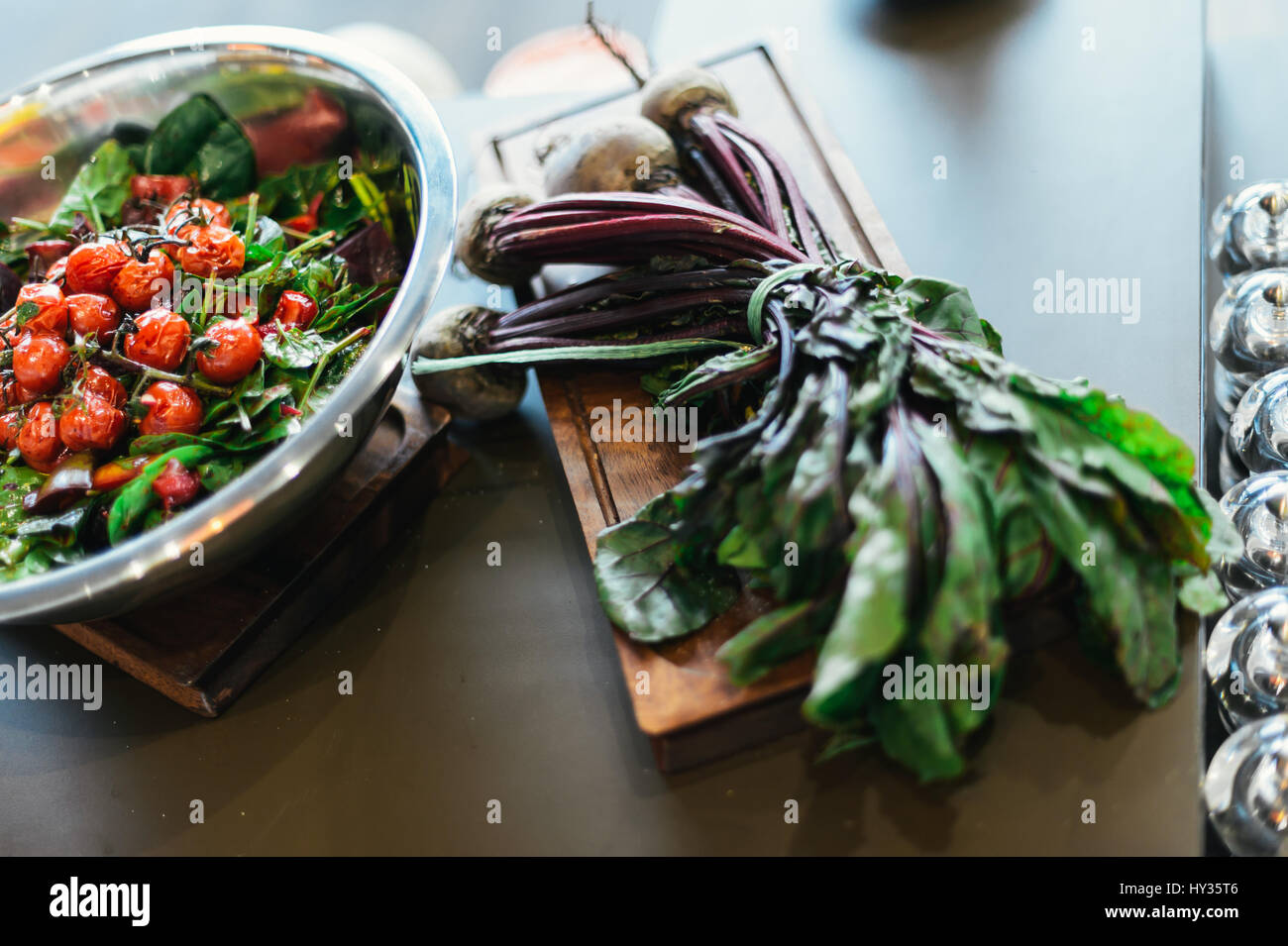 Beetroot Salad with Roasted Cherry Tomatoes on the Vine - Stock Image