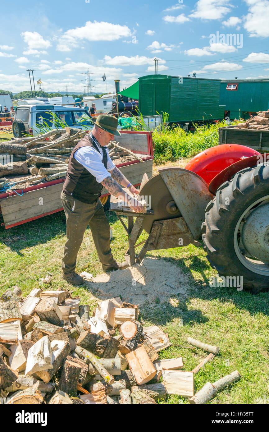 A demonstration of log splitting using tractors at the 2016 Norton Fitzwarren Steam & Vintage Vehicle Rally, - Stock Image