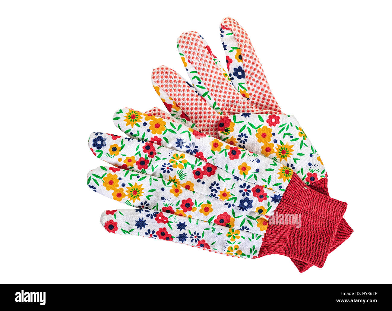 Pretty floral gardening gloves on a white background. - Stock Image