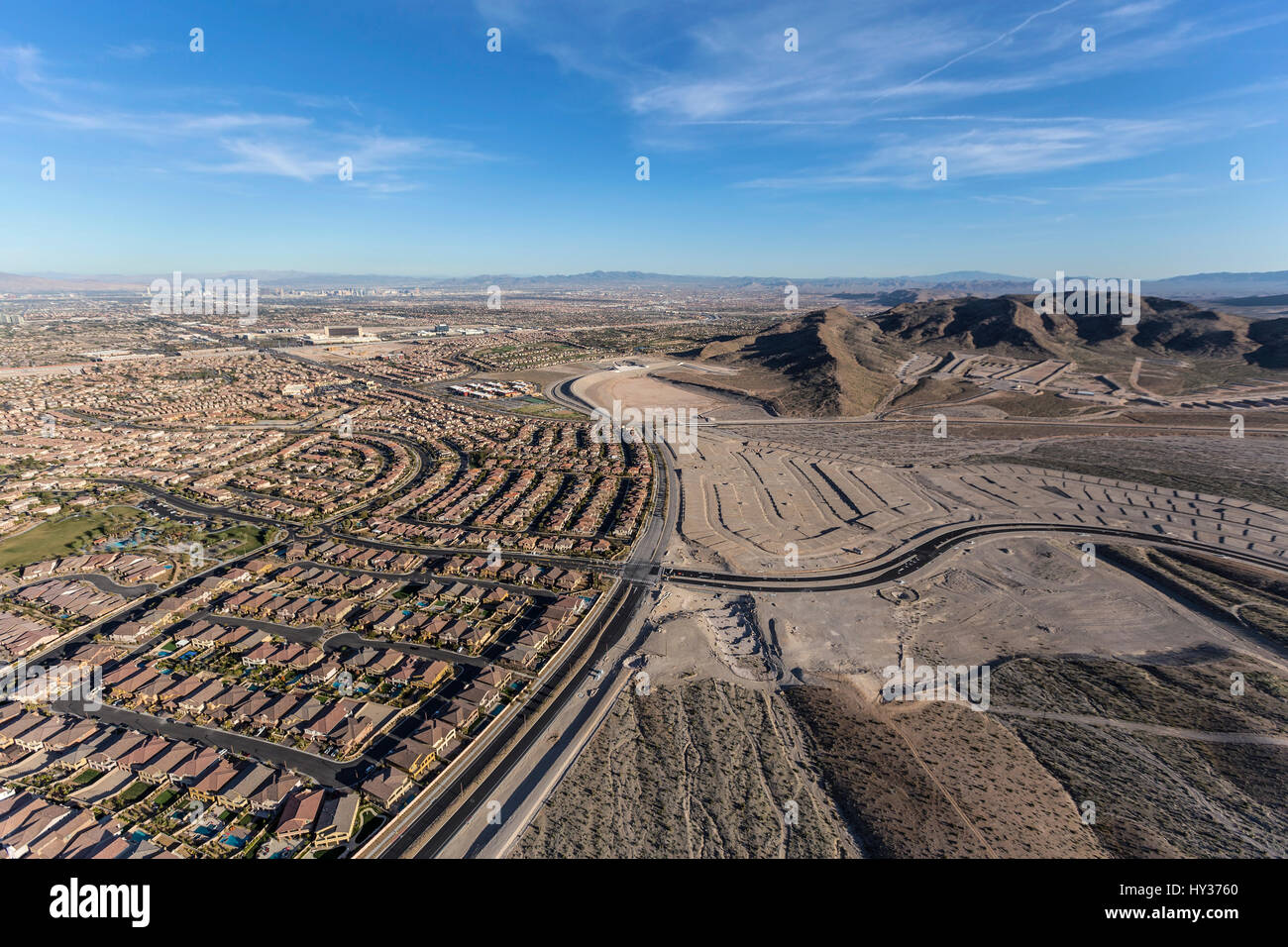 Aerial view of the western edge of Summerlin near Red Rock National Conservation Area in Las Vegas, Nevada. - Stock Image
