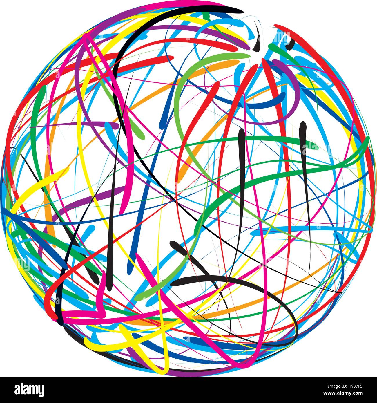 Scribble ball vector illustrated icon - Stock Image