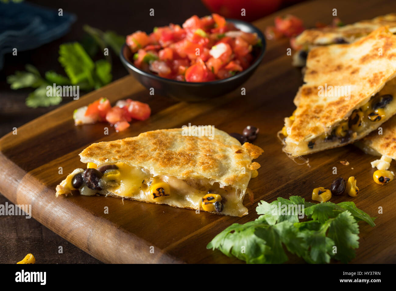 Homemade Chicken and Cheese Quesadilla with Salsa and Cilantro - Stock Image