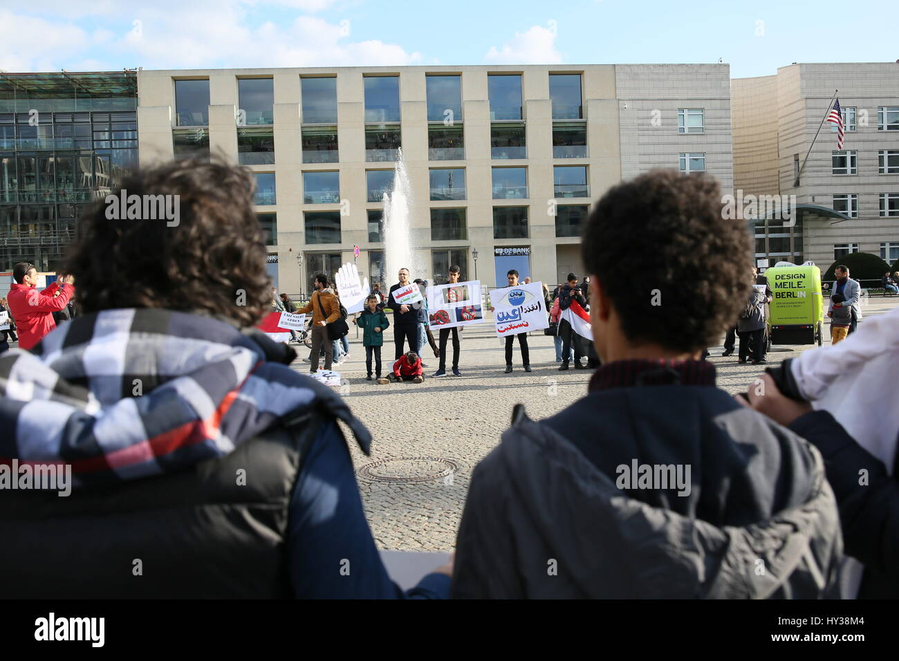Berlin, Germany, April 18th, 2015: Protest against war in Yemen. - Stock Image