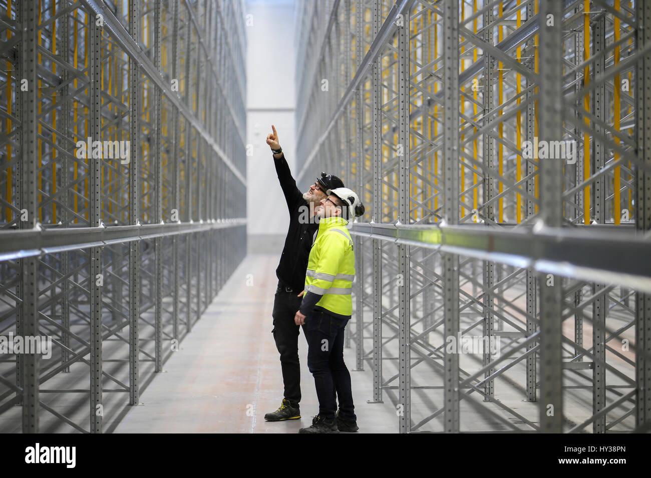Sweden, Mature men at construction site - Stock Image