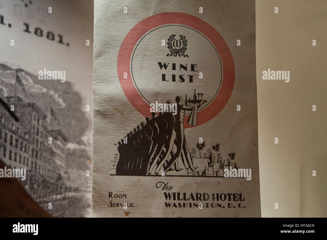 Vintage wine list of the Willard Hotel, Washington, DC USA - Stock Image
