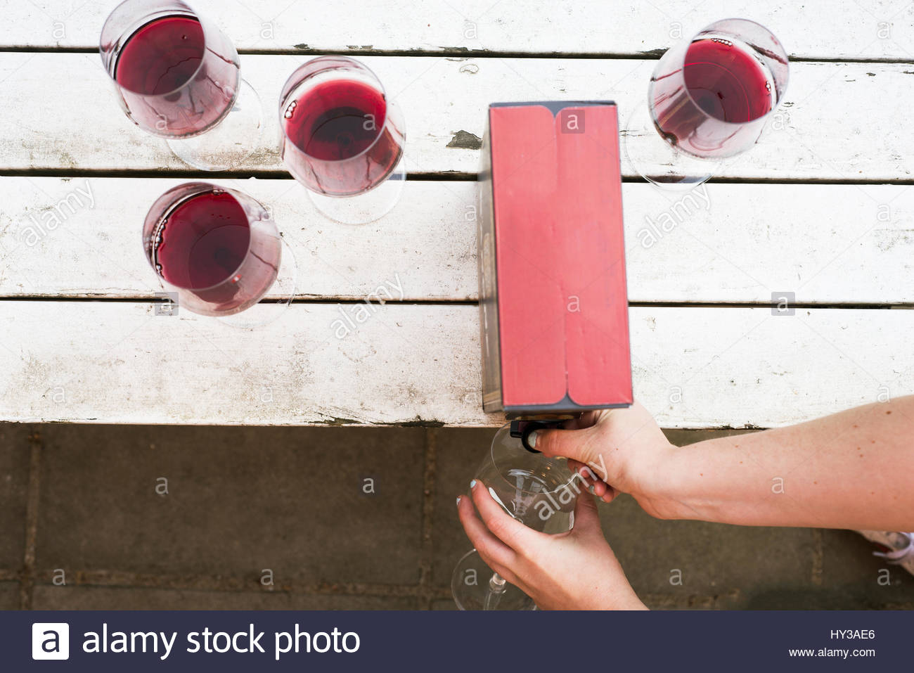 Sweden, Pouring red wine into glass - Stock Image
