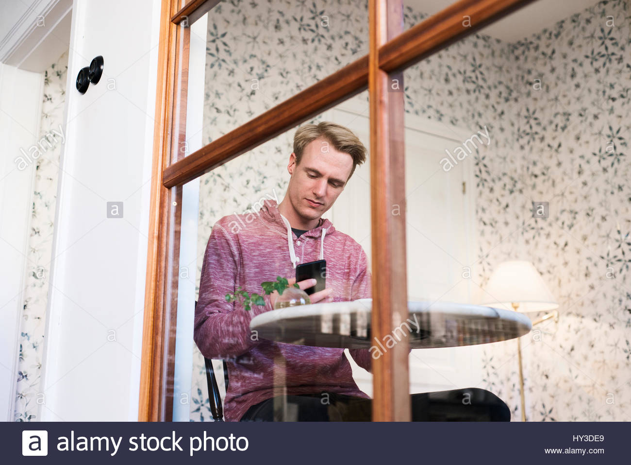 Sweden, Man sitting at table and using smart phone in cafe - Stock Image