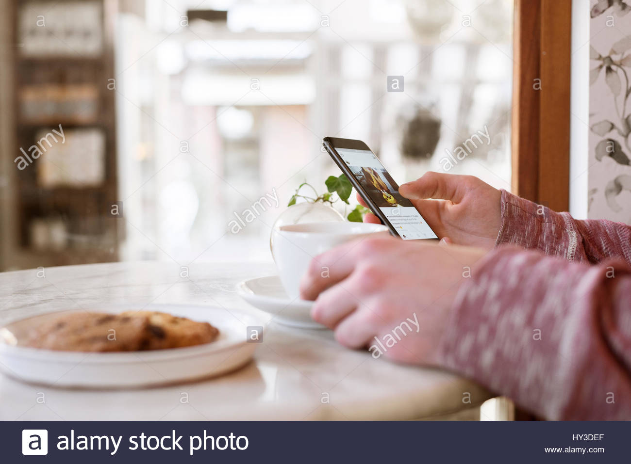 Sweden, Man sitting at table and using smart phone - Stock Image