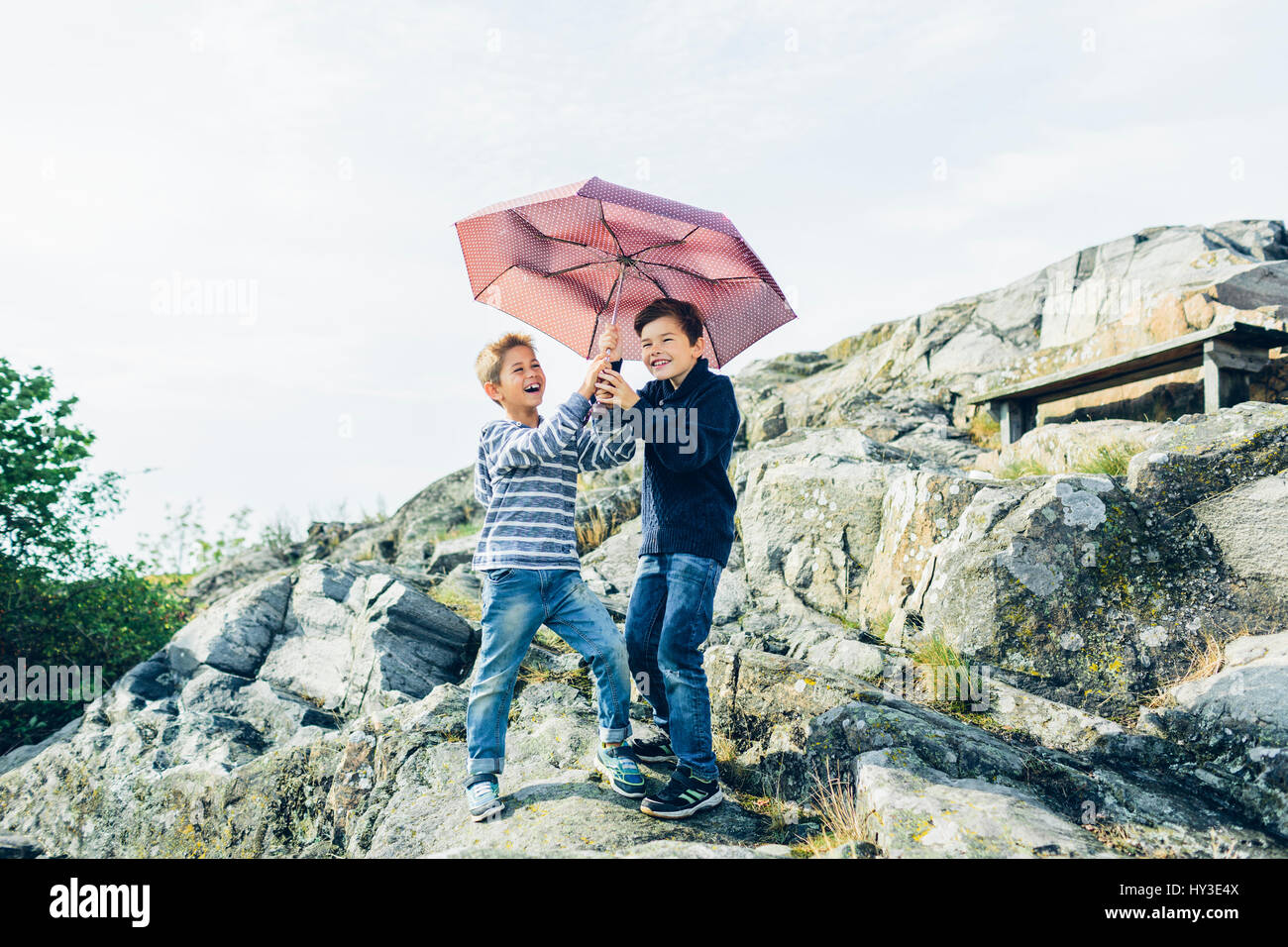 Sweden, Blekinge, Karlskrona, Laughing boys (8-9) with umbrella on rocky hill - Stock Image
