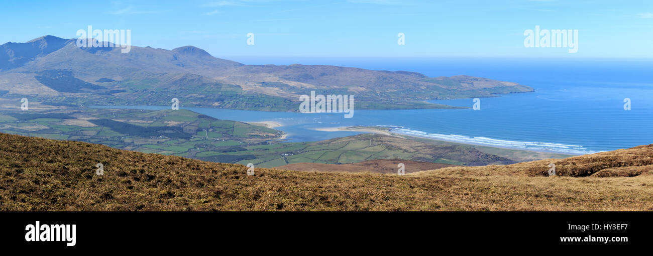 Looking west towards Brandon Mountain and Brandon Point from Coombane Mountain on the Dingle Peninsula, County Kerry, - Stock Image