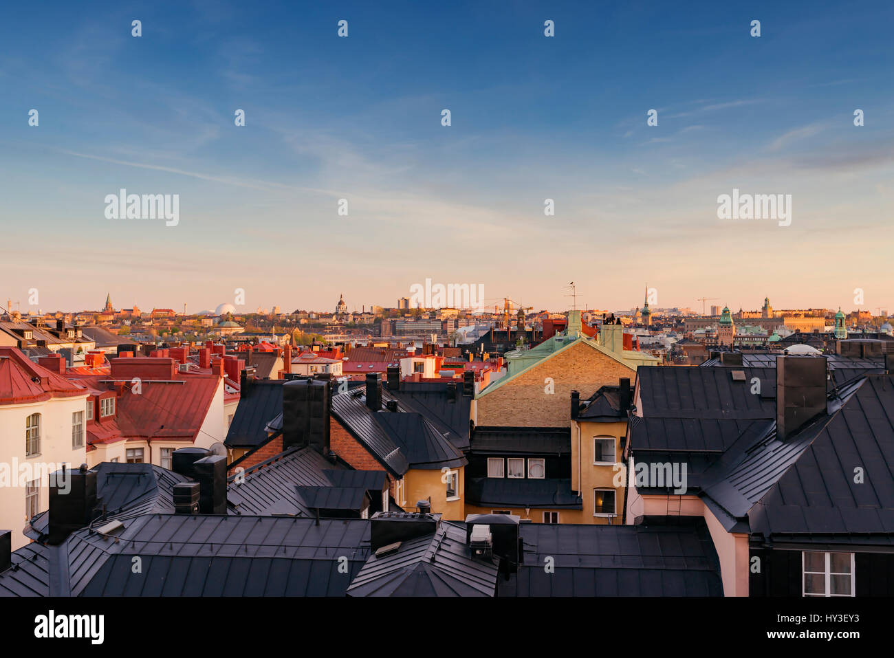 Sweden, Stockholm, Ostermalm, Cityscape seen from above rooftops - Stock Image