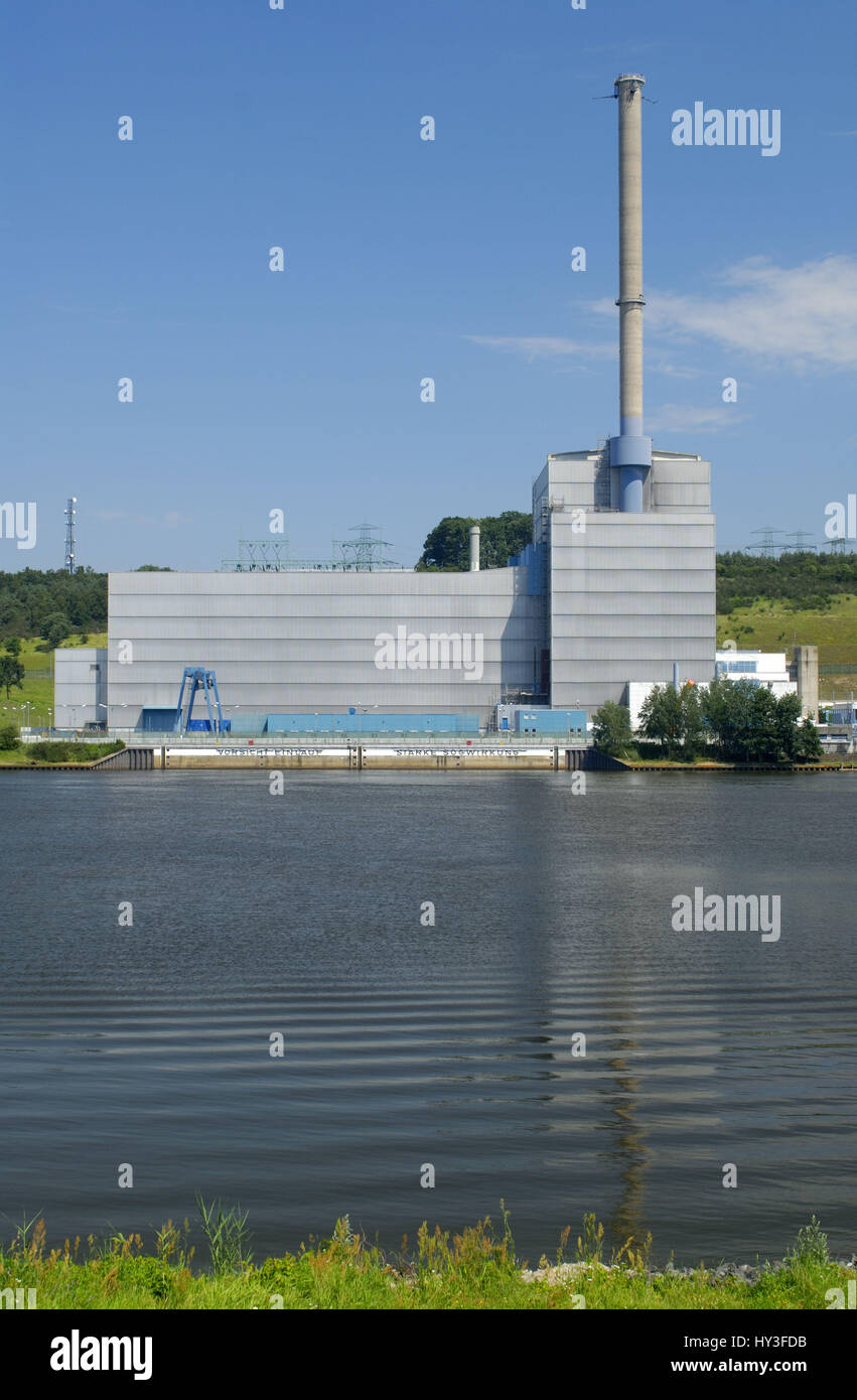 Atomic power station, AKWs, nuclear power plant, nuclear power station, KKW, KKWs, Kr¸mmel, Schleswig - Holstein, - Stock Image