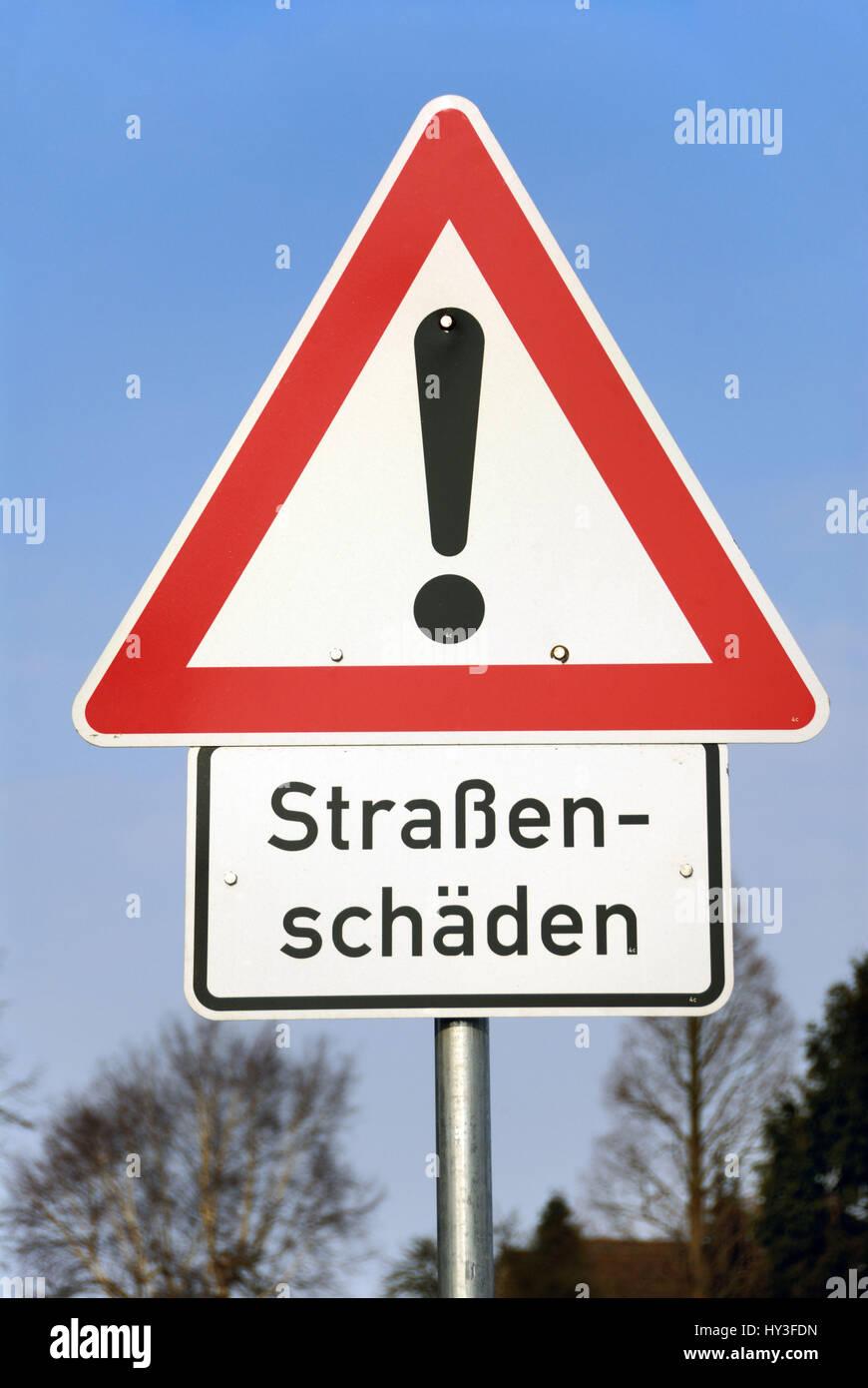 Warning street damages, Warnschild Straßenschäden Stock Photo