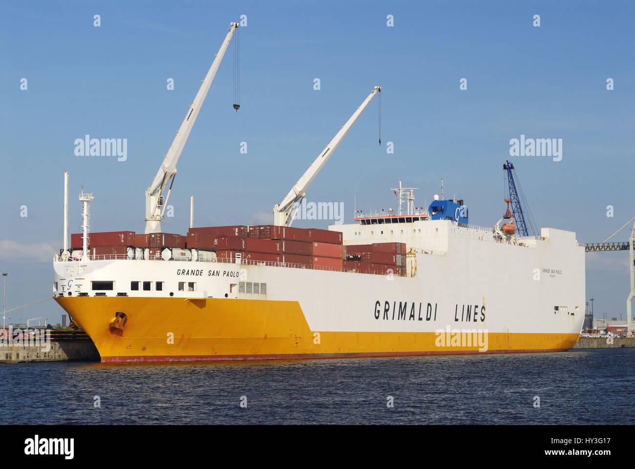 Grandee San Paolo of the Grimaldi Lines in the Hamburg harbour, Hamburg, Germany, Europe, Grande San Paolo der Grimaldi - Stock Image