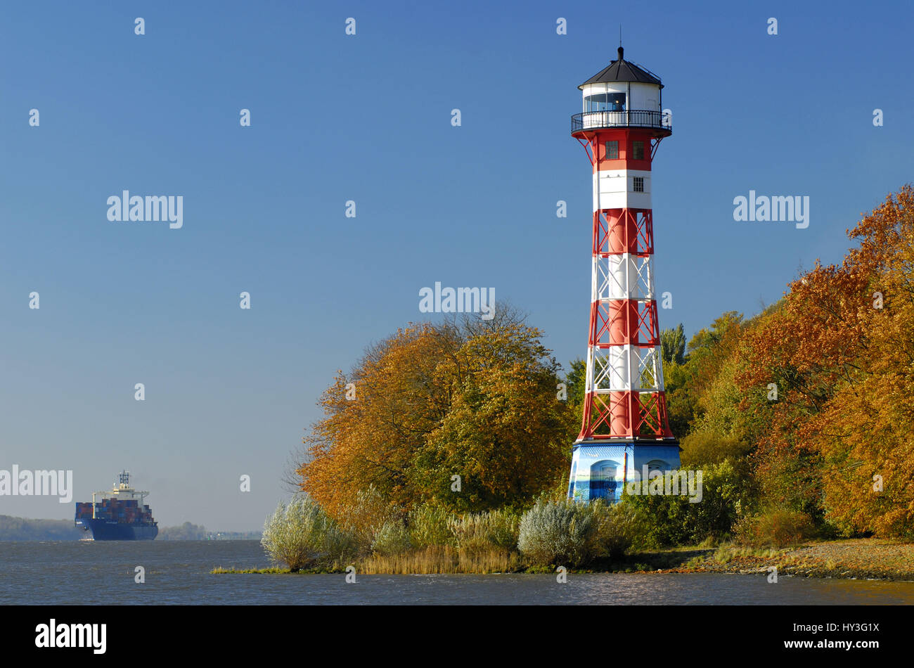 Lighthouse Wittenbergen, Hamburg, Leuchtturm Wittenbergen Stock Photo