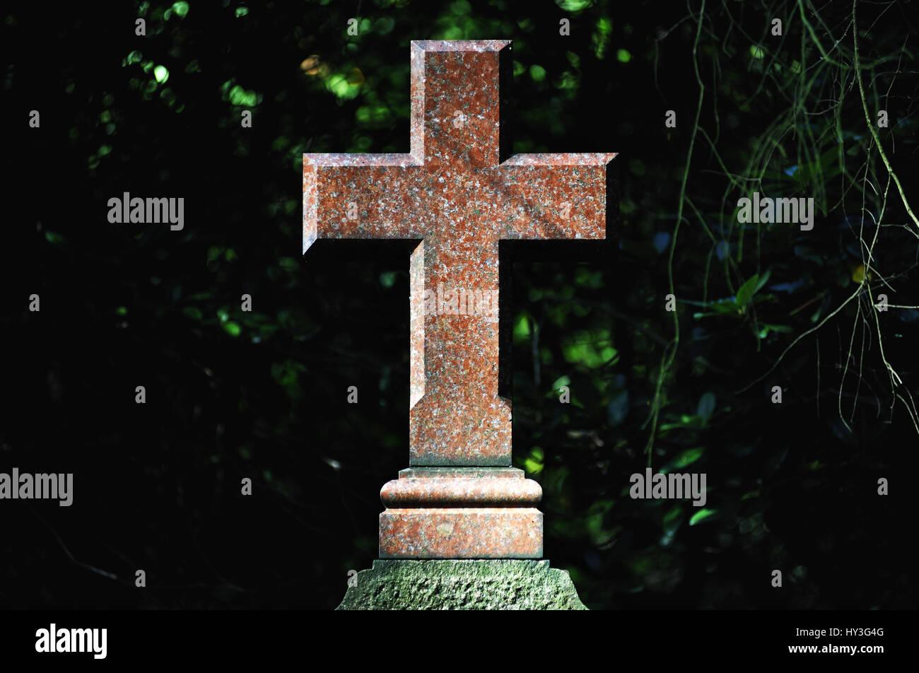 Grave cross on the Ohlsdorfer cemetery in Hamburg, Germany, Europe, Grabkreuz auf dem Ohlsdorfer Friedhof in Hamburg, Deutschland, Europa Stock Photo