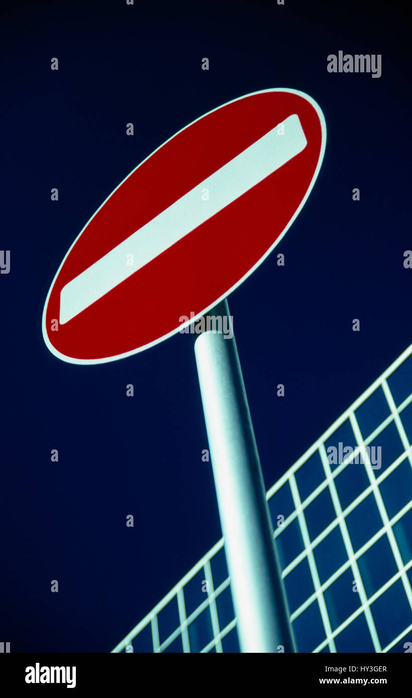 Communications, Signs, Road, No Entry sign. - Stock Image