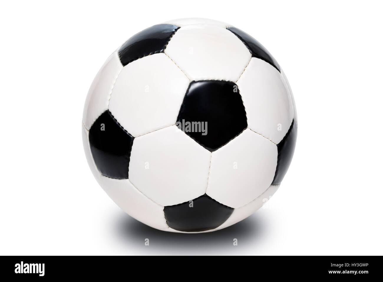 Black-and-white leather football, Germany, Hamburg, , Schwarz-weißer Lederfussball, Deutschland - Stock Image