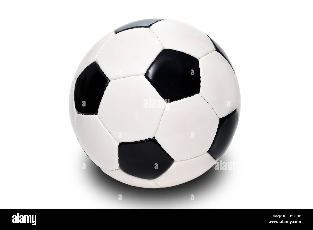 Black-and-white leather football, Germany, Hamburg, , Schwarz-weißer Lederfussball, Deutschland - Stock Image