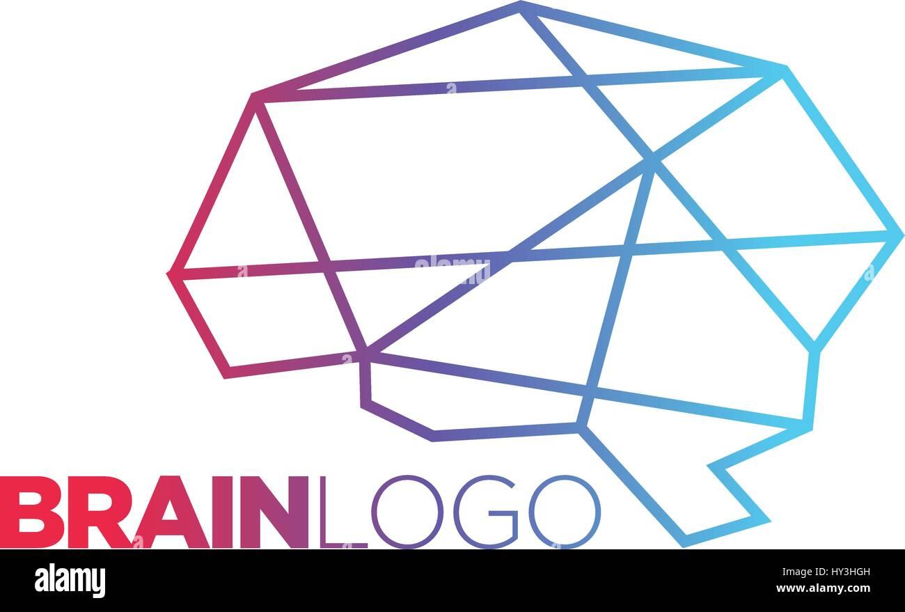Digital human brain - vector logo concept illustration. Mind sign - Stock Image