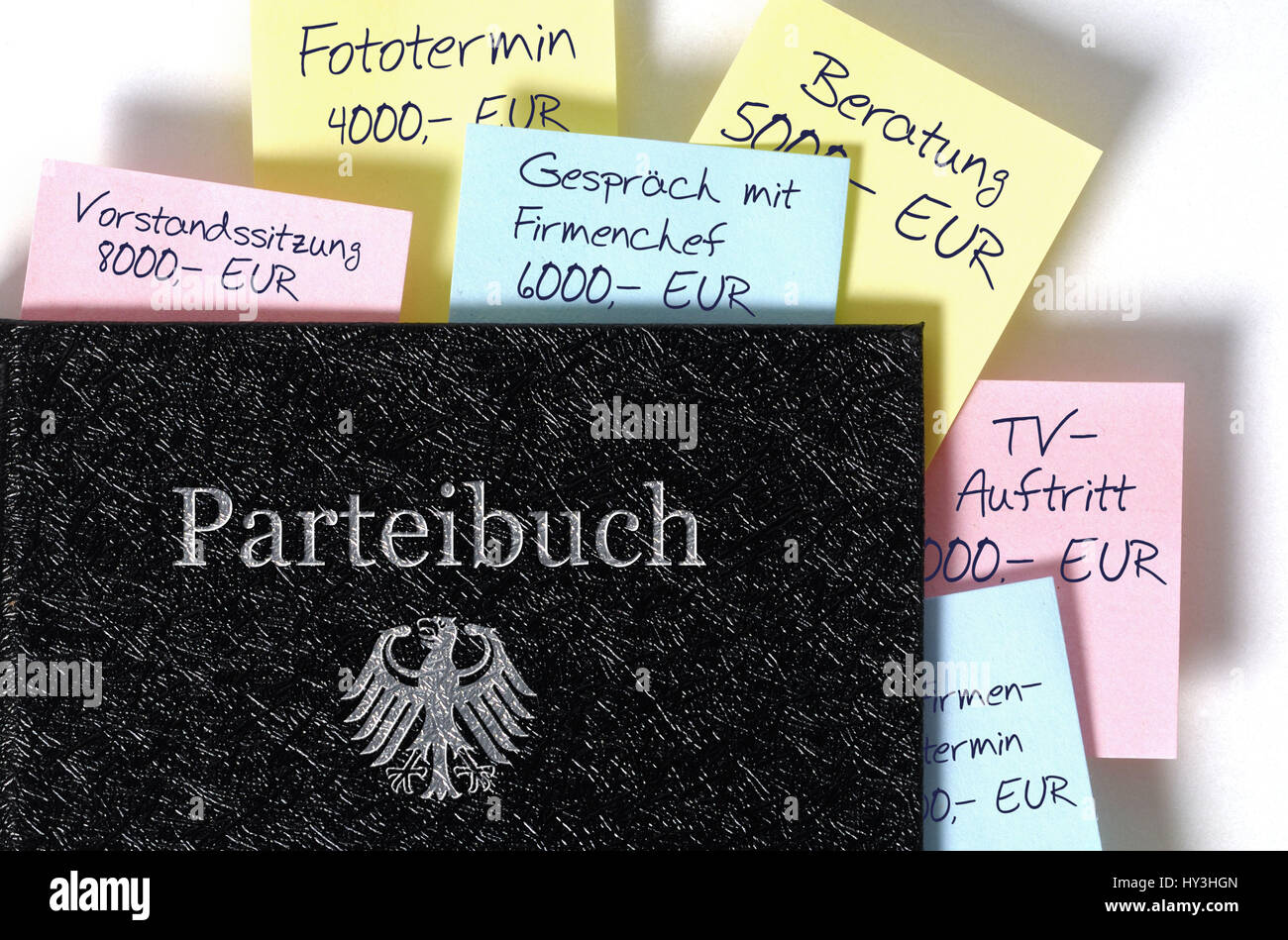 Party card with adhesive labels, sponsorship and additional incomes of politicians, Parteibuch mit Klebezetteln, - Stock Image