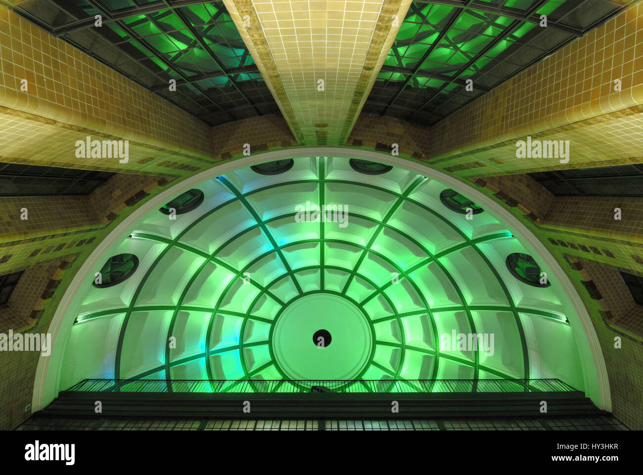 Indoor photograph of the old Elbtunnels in Hamburg, Germany, Europe, Innenaufnahme des Alten Elbtunnels in Hamburg, - Stock Image