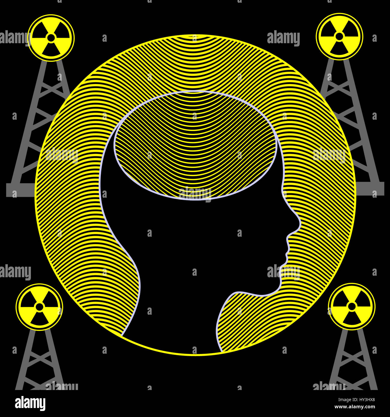 Electromagnetic waves of mobile towers influence the function of the brain - Stock Image