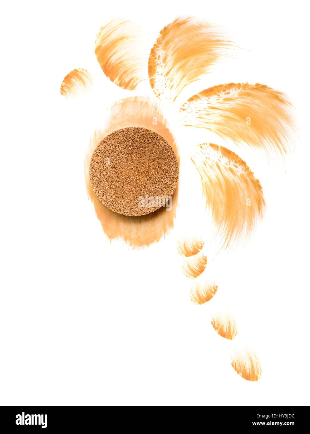 Foundation cushion, painted palm and samples on white batsground Sun protection - Stock Image