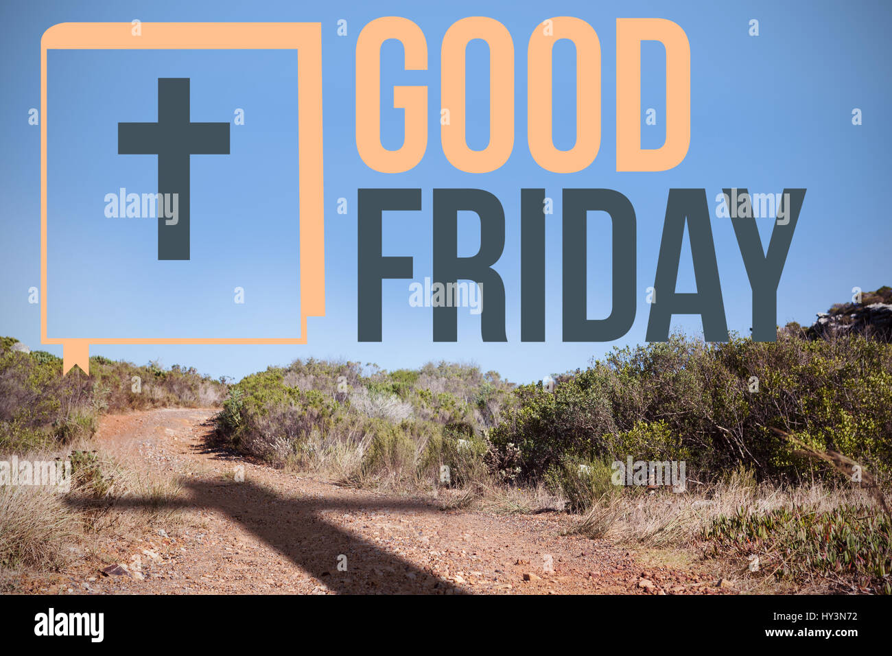 good friday logo against crucifix on the path - Stock Image