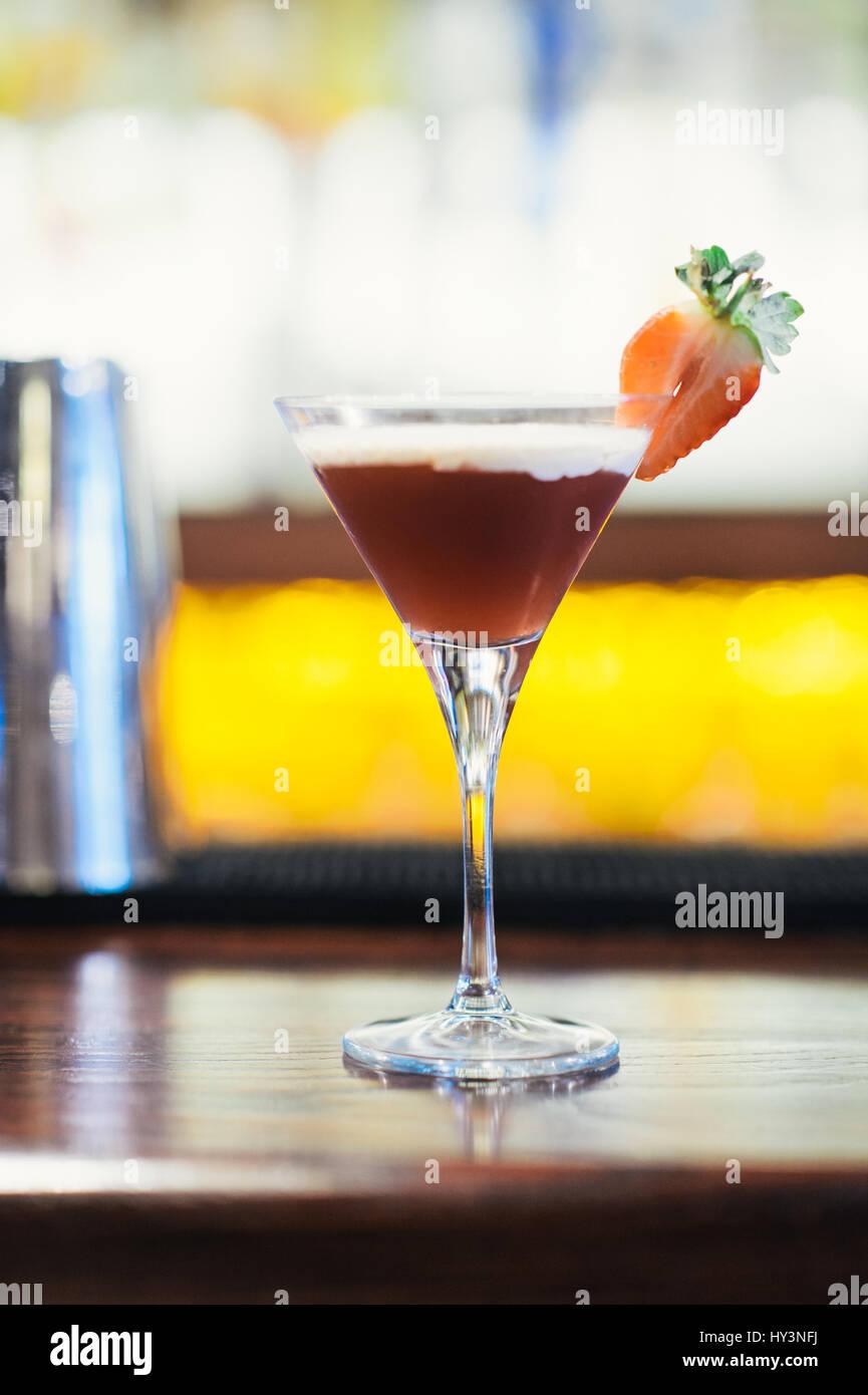 Glass of Strawberry Daiquiri - Stock Image