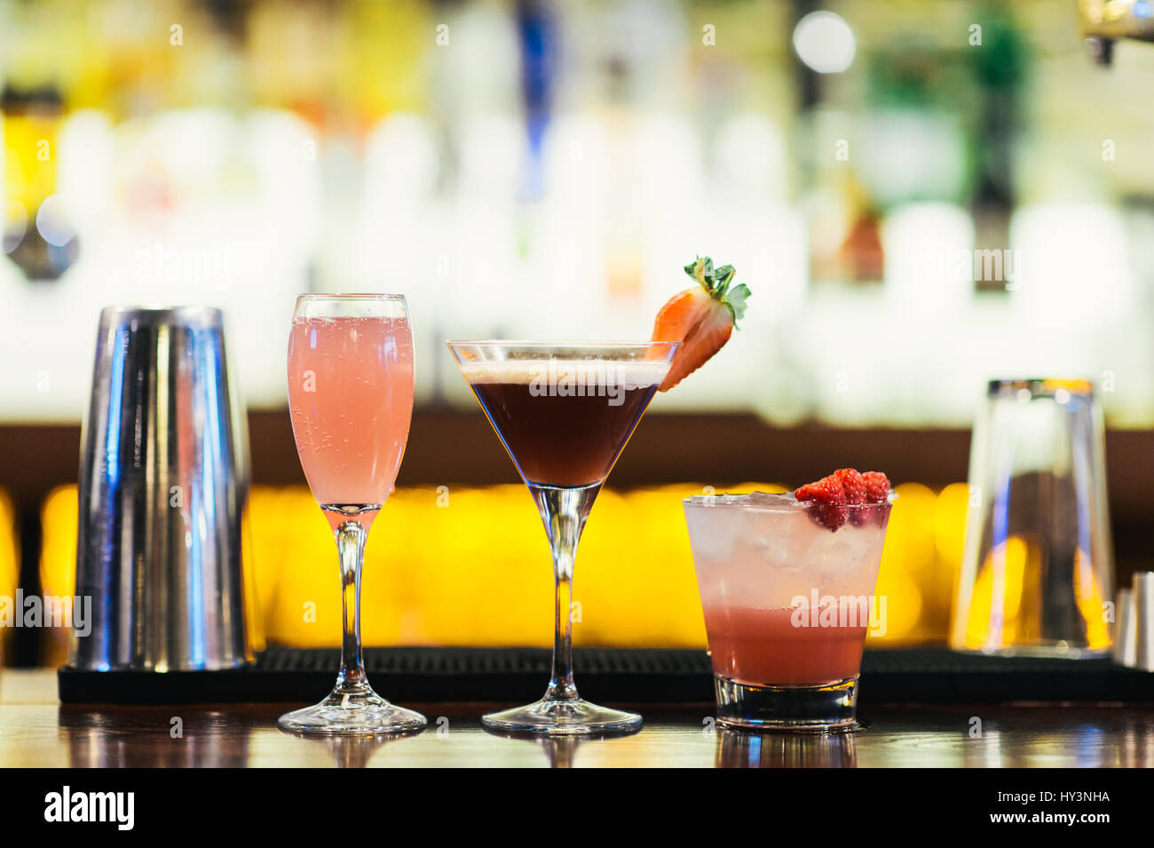 Row of Colourful Cocktails on a Bar Counter Stock Photo