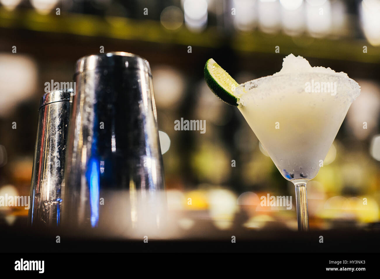 Glass of Margarita Cocktail on Crushed Ice - Stock Image