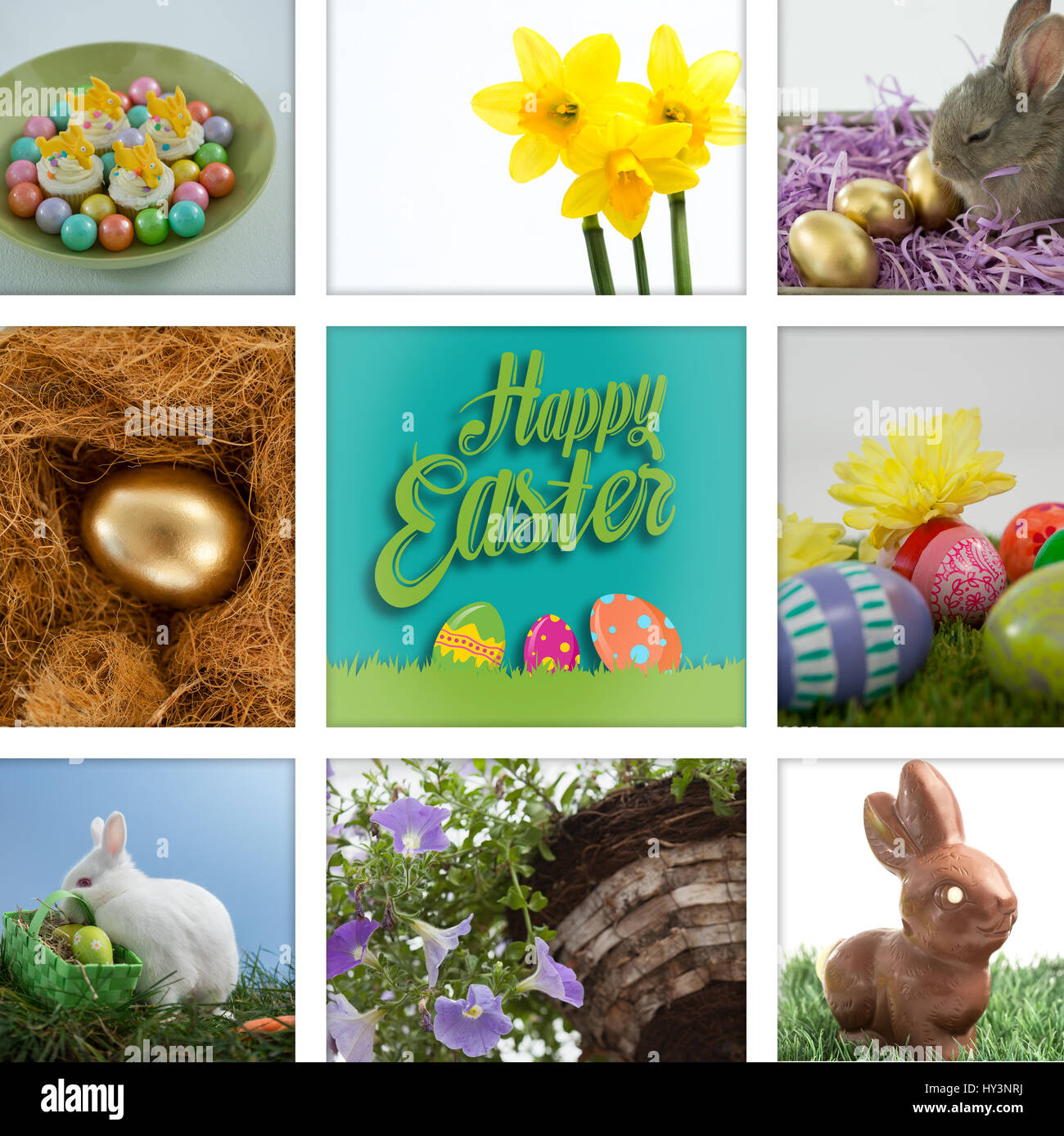 happy easter against colorful chocolate easter eggs with cup cakes in bowl Stock Photo