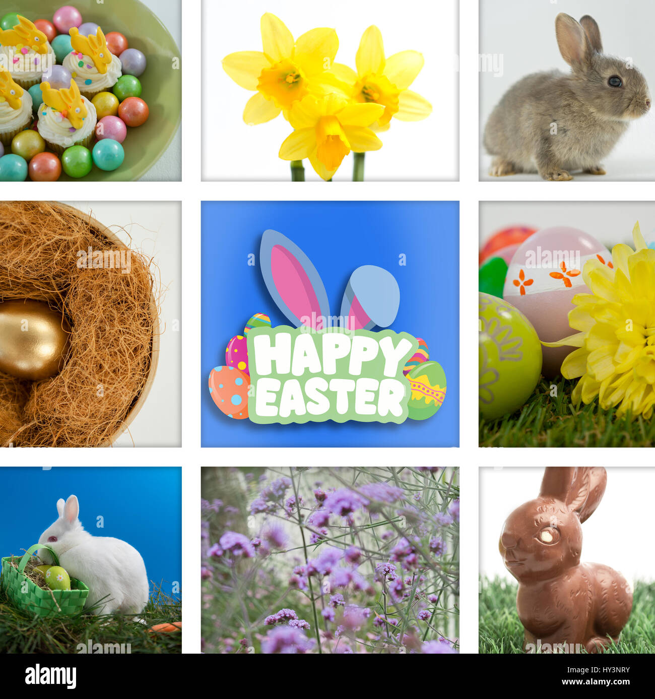 Happy Easter greeting against colorful chocolate easter eggs with cup cakes in bowl - Stock Image