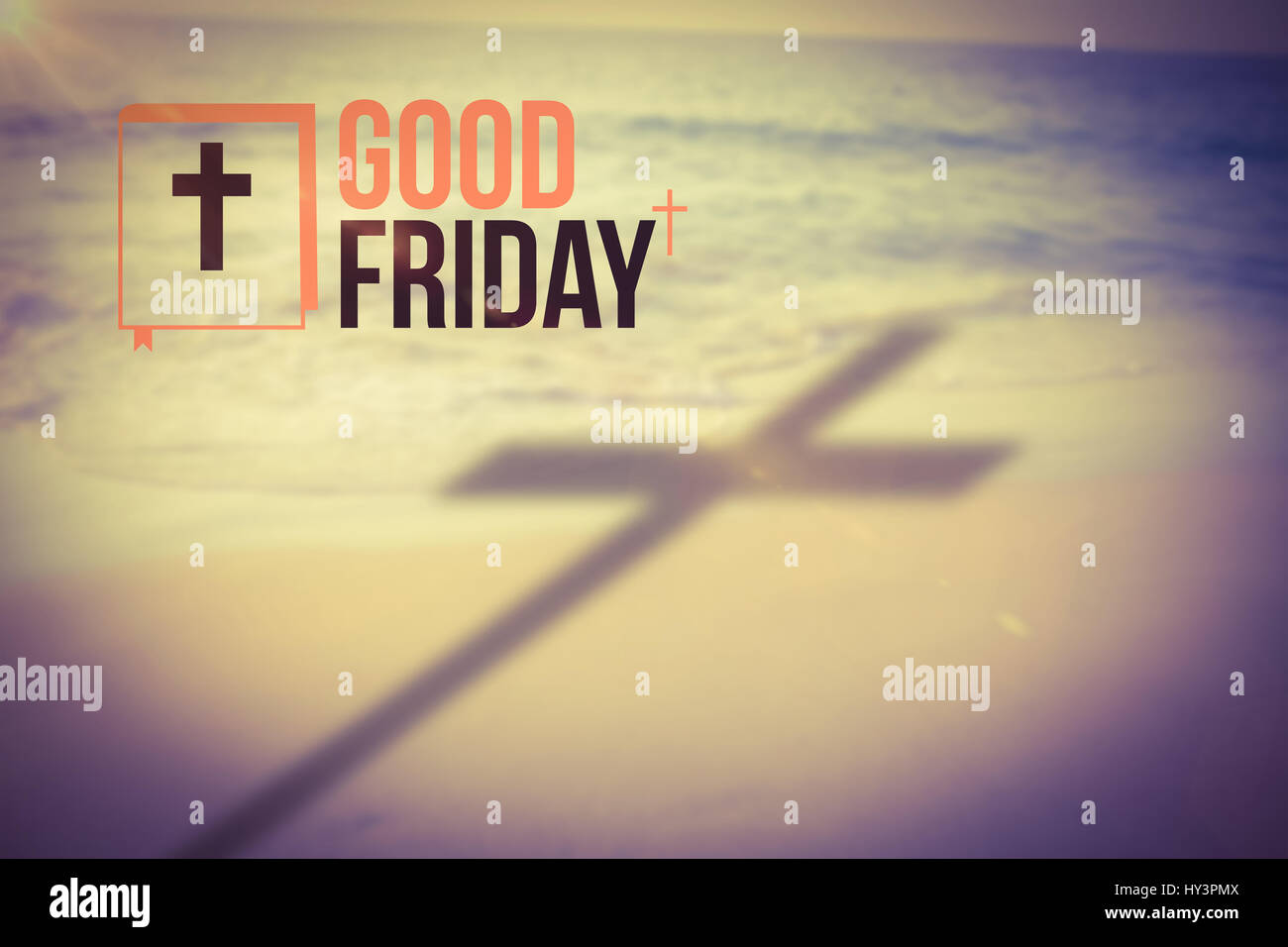 good friday logo against beach during sunset - Stock Image