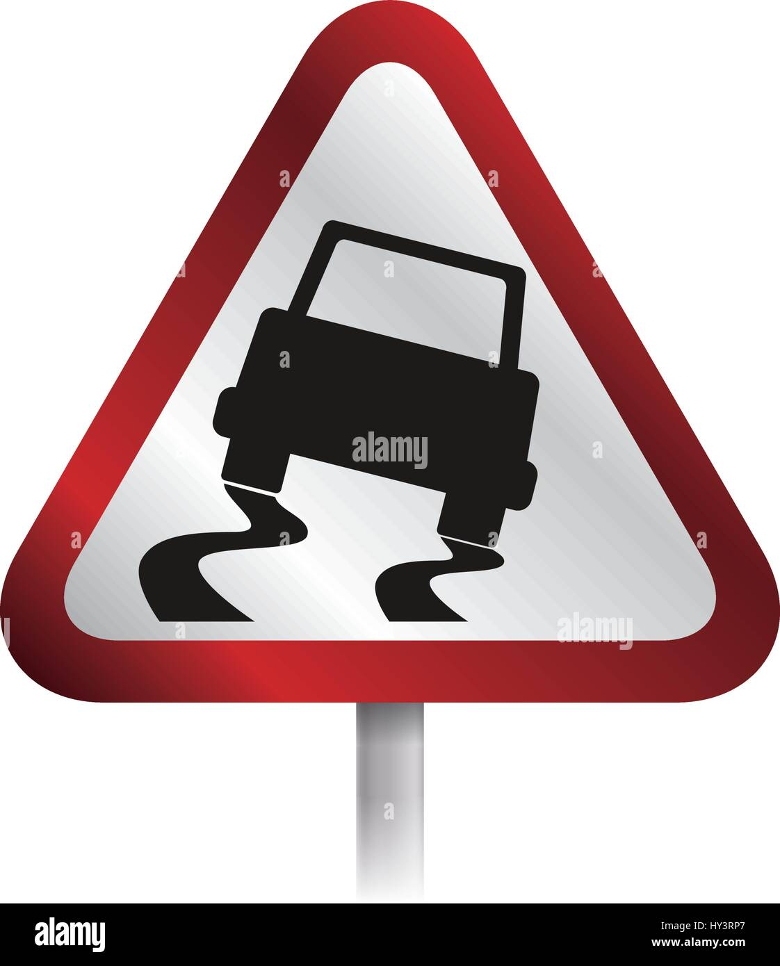 caution sign slippery ground vector icon illustration - Stock Image