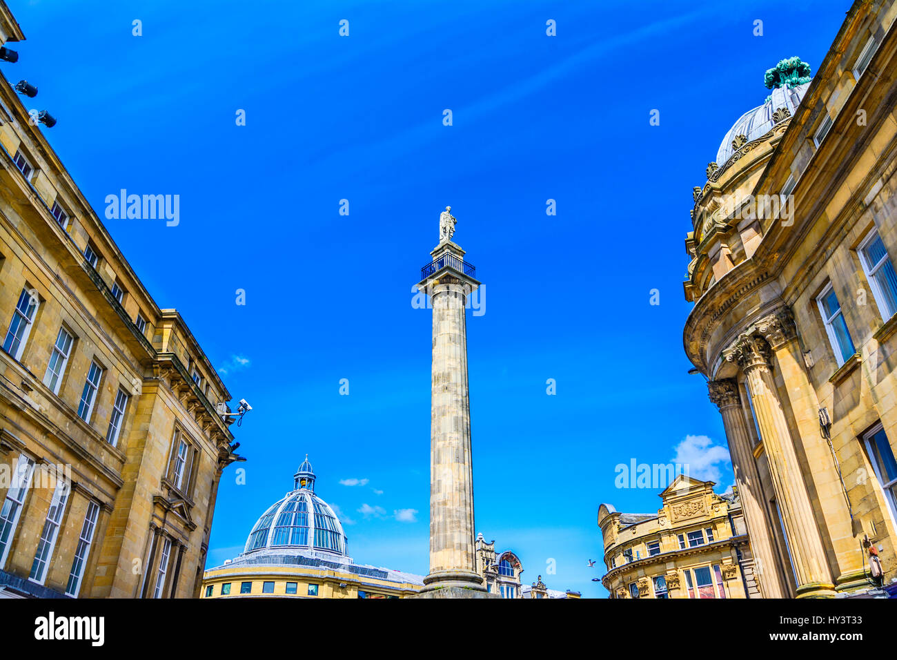 Grey's Monument, Newcastle Earl Grey's column, looking up Grey Street, Newcastle - Stock Image