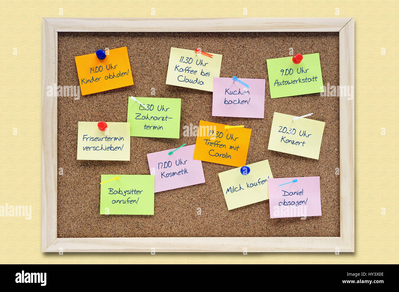 Pinwand with appointments, everyday stress, appointment stress, Pinwand mit Terminen, Alltagsstress, Terminstress Stock Photo