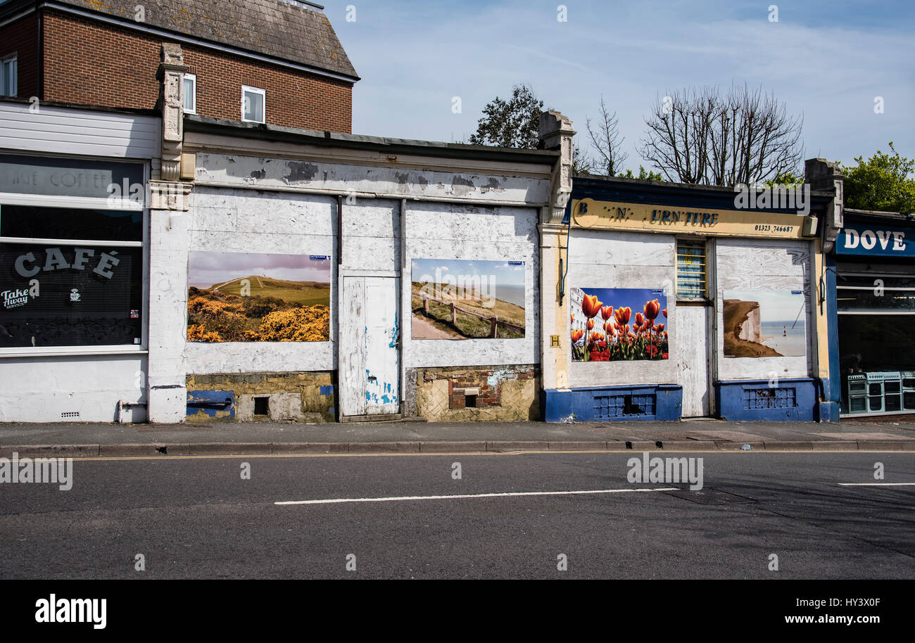 Little indipendent shops closed down on a depressed High Street in UK - Stock Image