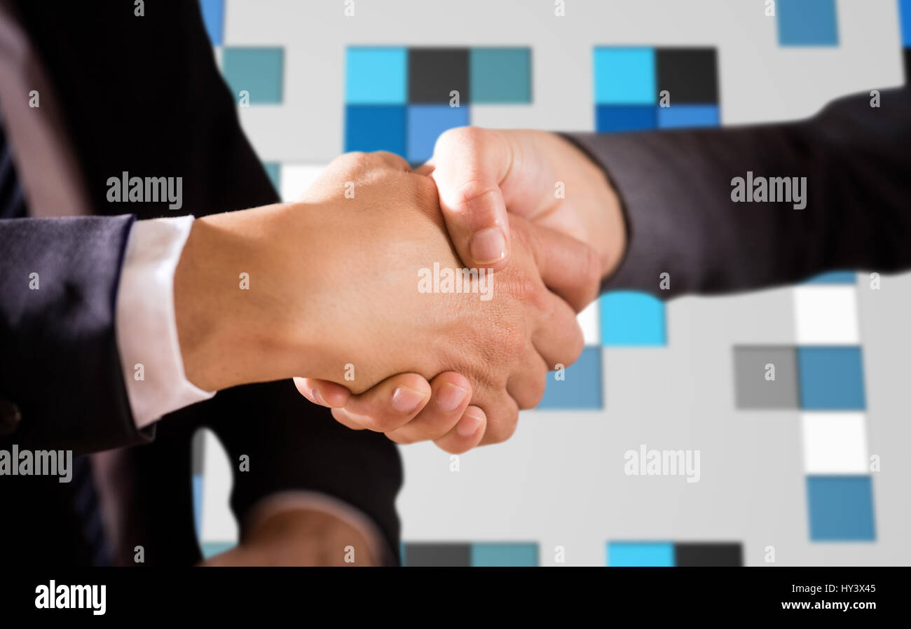 Male and female corporates shaking hands against technical background with squars - Stock Image