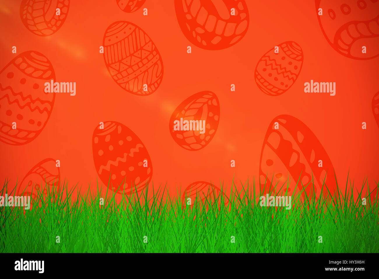 grass against white background  against red background - Stock Image