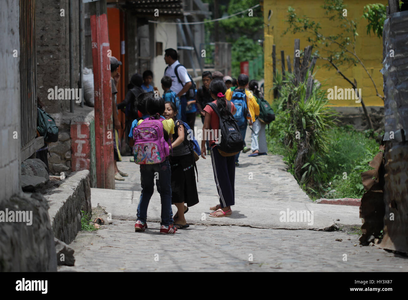 Kids playing after school in guatemala vilalge - Stock Image