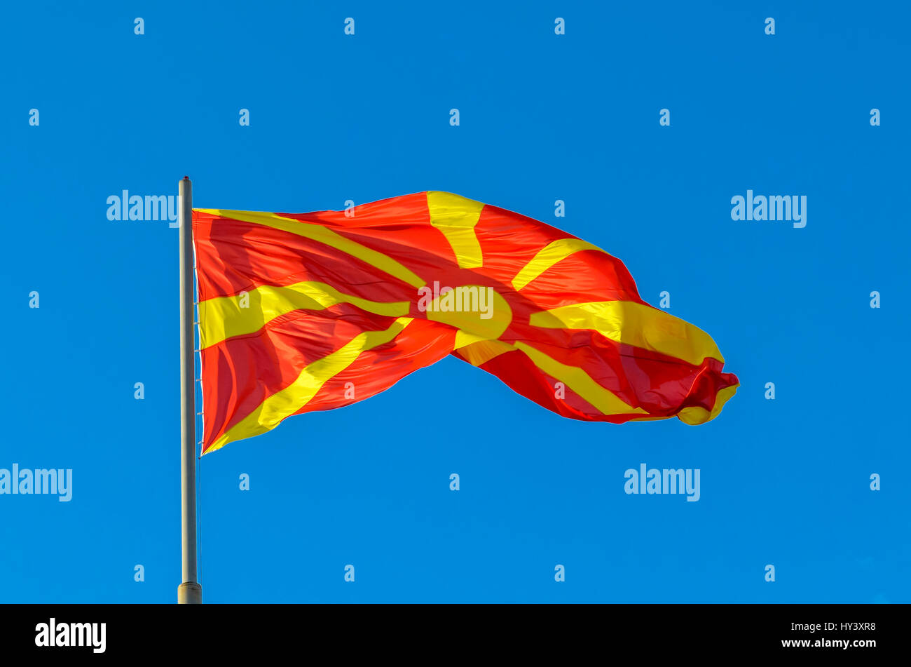 Macedonian Flag waving - Stock Image