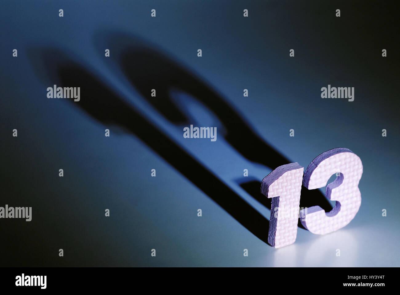 Number 13, Zahl 13 - Stock Image