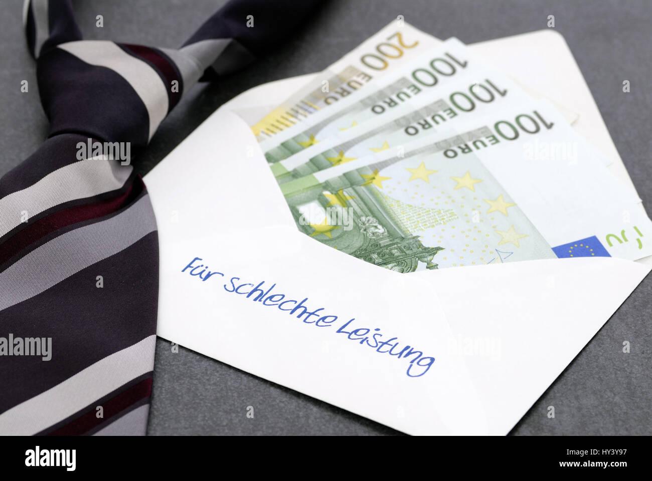 For bad achievement, envelope with label and bank notes, banker's bonus, Fuer schlechte Leistung, Briefumschlag - Stock Image