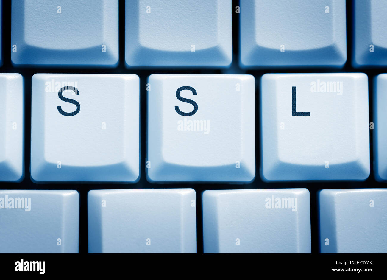 Computer keys with SSL stroke, security gap Heartbleed in OpenSSL, Computertasten mit SSL-Schriftzug, Sicherheitsluecke Stock Photo