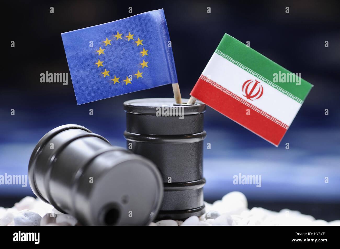 EU and Iran flag in oil barrels, symbolic photo oil embargo of the EU against Iran, EU- und Iran-Fahne in oelfaessern, Stock Photo
