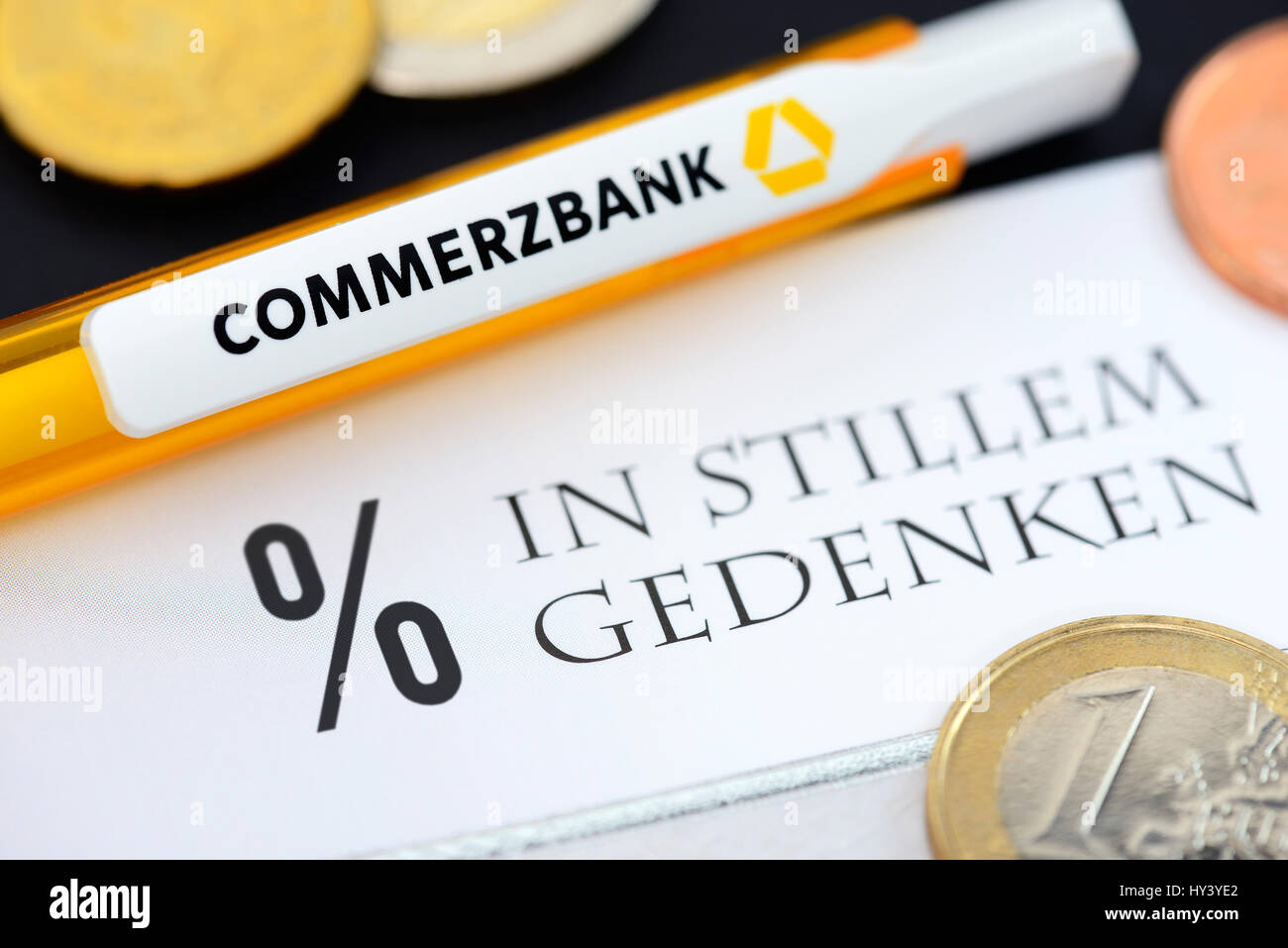 Condolence card with percent sign and Commerzbank ballpoint pen, symbolic photo negative interest, Beileidskarte Stock Photo