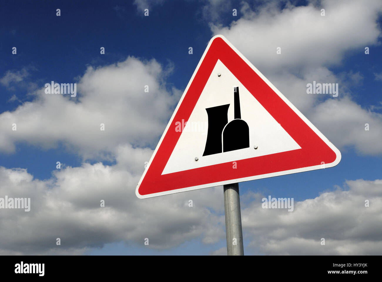 Danger sign Nuclear energy, Picture assembly, , Gefahrenschild Atomkraft , Bildmontage Stock Photo