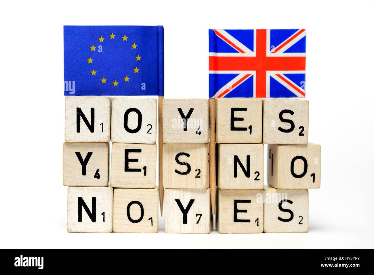 Flag of the EU and Great Britain, symbolic photo EU referendum, Fahne von EU und Gro?britannien, Symbolfoto EU-Referendum - Stock Image